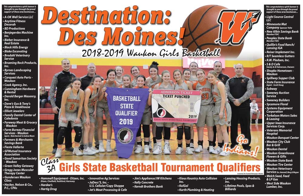 The ninth-rated Waukon girls basketball team (18-3) has played its way to the Class 3A State Tournament for the first time since the 2009-2010 season...