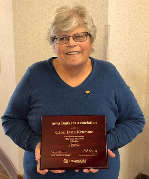 Carol Krumme of Waukon State Bank was recently honored by the Iowa Bankers Association for 50 years of service to Waukon State Bank. She was one of...
