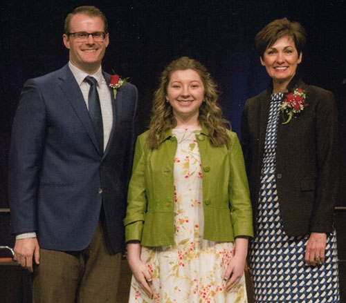 Katelyn Leiran (center), Waukon High School graduating senior and daughter of Steve and Nancy Leiran of Waterville, was recognized by Iowa Governor...
