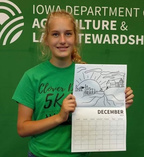 Waukon Middle School eighth grader Olivia Marti entered a drawing into the Choose Iowa Coloring Calendar contest hosted by the Iowa Department of...
