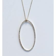 Ladies' 14kt gold oval shaped diamond pendant ...